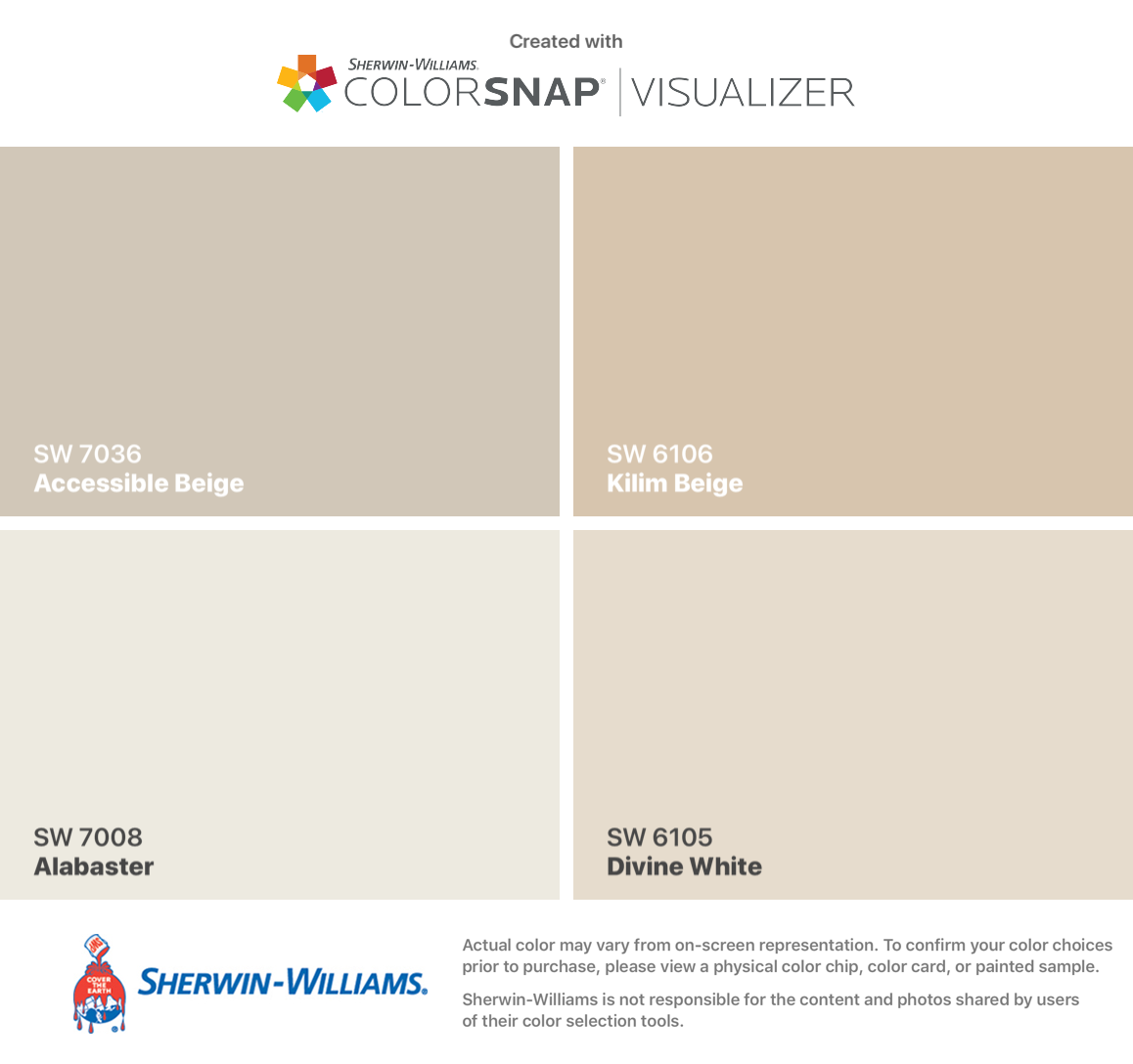I Found These Colors With Colorsnap Visualizer For Iphone By Sherwin Williams Accessible Beige Sw 7036 Alaba Balanced Beige Beige Paint Colors Kilim Beige