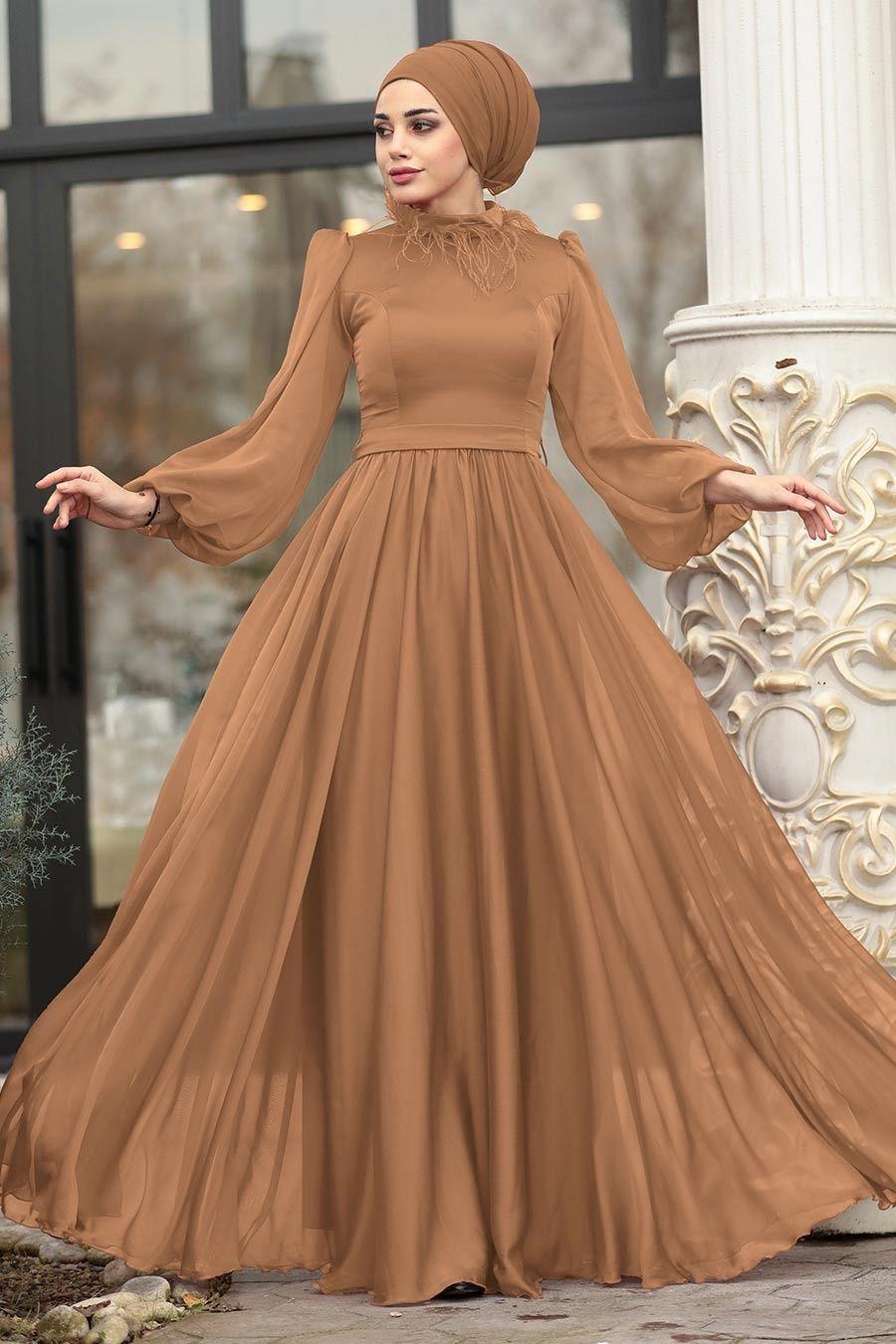 Tesetturlu Abiye Elbise Tuylu Balon Kol Taba Tesettur Abiye Elbise 3925tb Tesetturisland Com 2020 Elbise Islami Giyim Payet Elbise