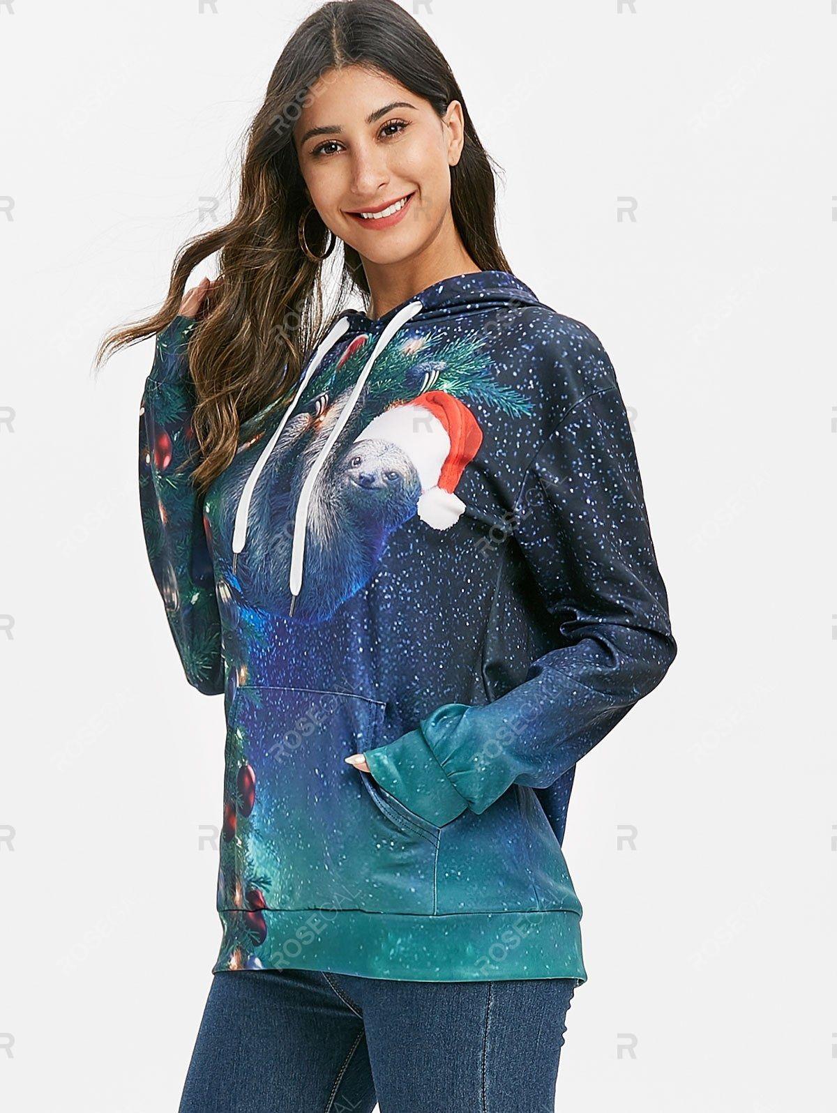 Christmas Hat Front Pocket Drop Shoulder Hoodie in 2020