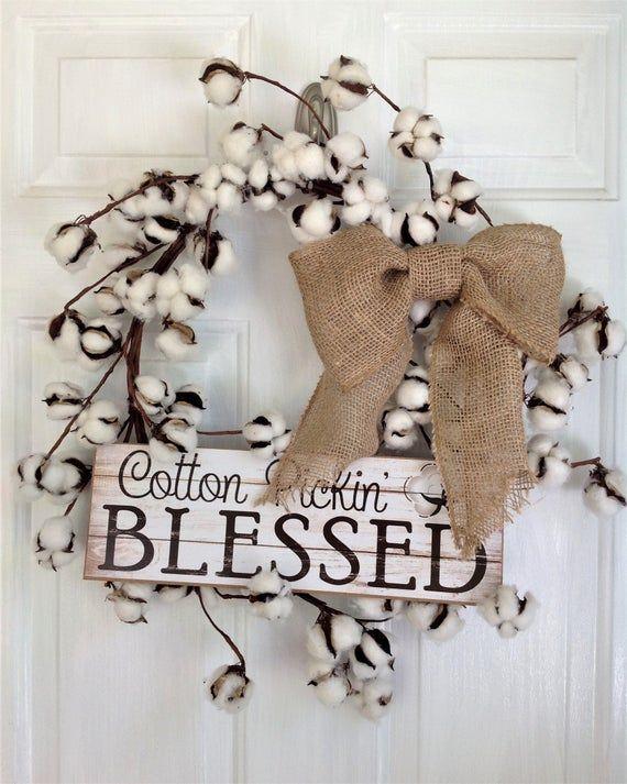 Photo of Cotton Wreath, Farmhouse Wreath, Country Wreath, Fall Wreath, Burlap Wreath, Everyday Wreath, Rustic Wreath, Farmhouse Decor, Country Decor
