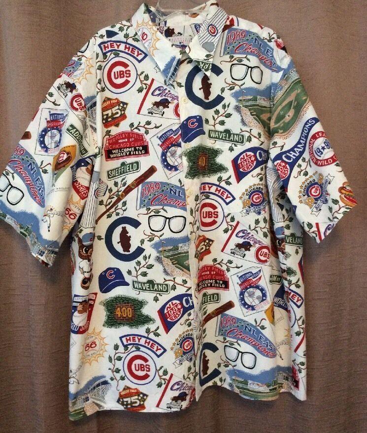 047264195 Chicago Cubs Reyn Spooner XL Hawaiian Shirt Cotton NLB Wrigley Cubbies Bat  | eBay