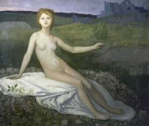 Hope , 1872 , Pierre Puvis de Chavannes (1824-1898/French) , Oil on canvas, Musee d'Orsay, Paris, Poster Print (18 x 24)