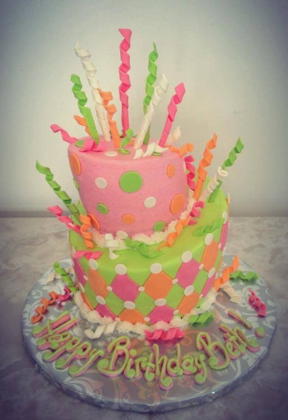 pink, green, orange topsy turvy birthday cake www.kittiskakes.com