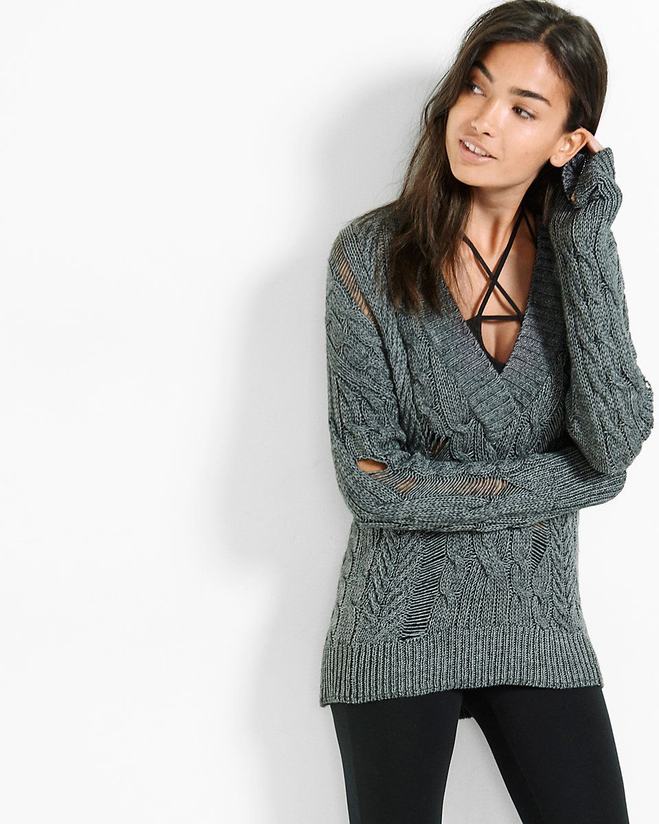 distressed v-neck cable knit sweater | clothes | Pinterest | Cable ...