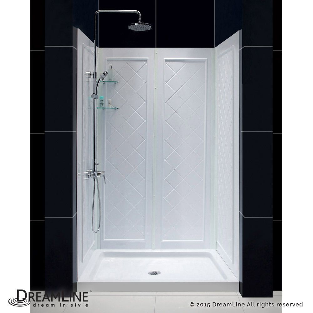 Qwall 5 36 Inch X 48 Inch X 76 3 4 Inch Standard Fit Shower Kit In