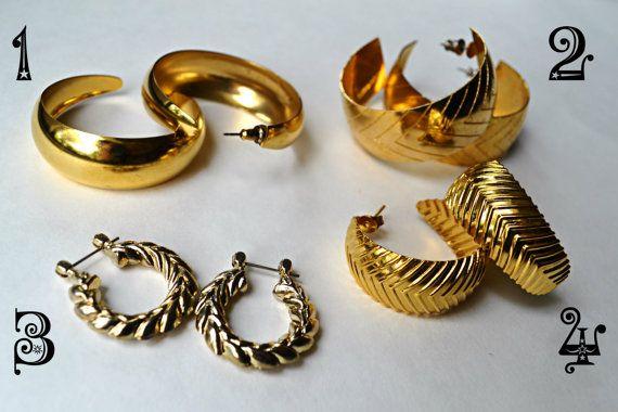 large vintage 80s gold hoop earrings chevron leaf pattern tfg