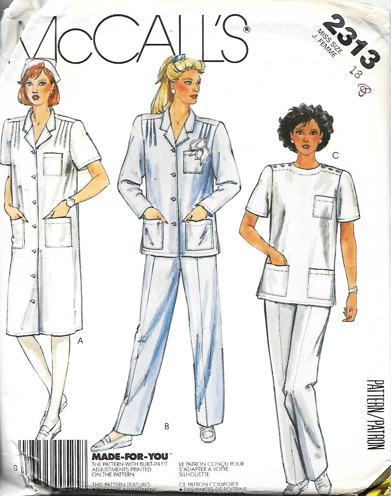 McCall's 2313 Misses Nurse Uniform Pattern, Scrubs, Medical Uniform, Dress  Or Shirt,