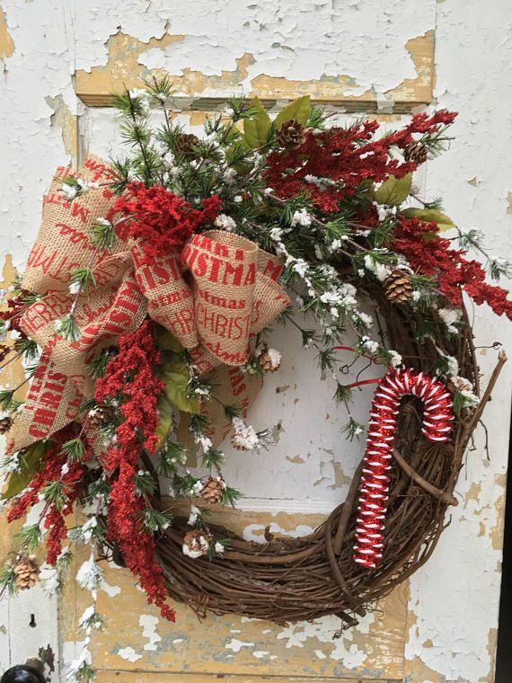 Christmas Wreath Candy Cane Wreath Christmas Door Wreath Things I