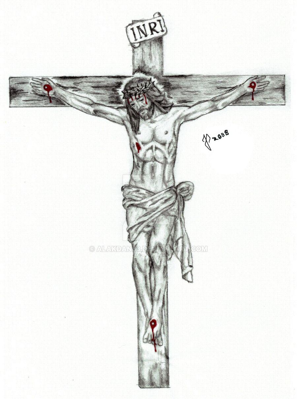 рисунки распятие христа карандашом есть
