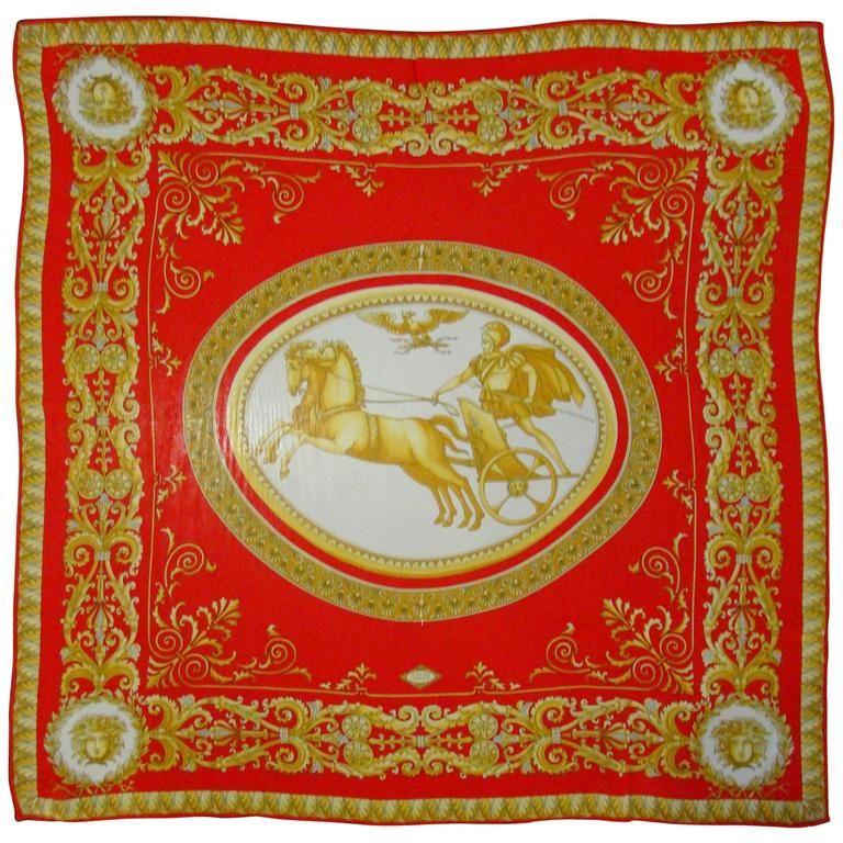7be9c66a Atelier Versace Medusa Print Red Silk Scarf | Versace | Red silk ...