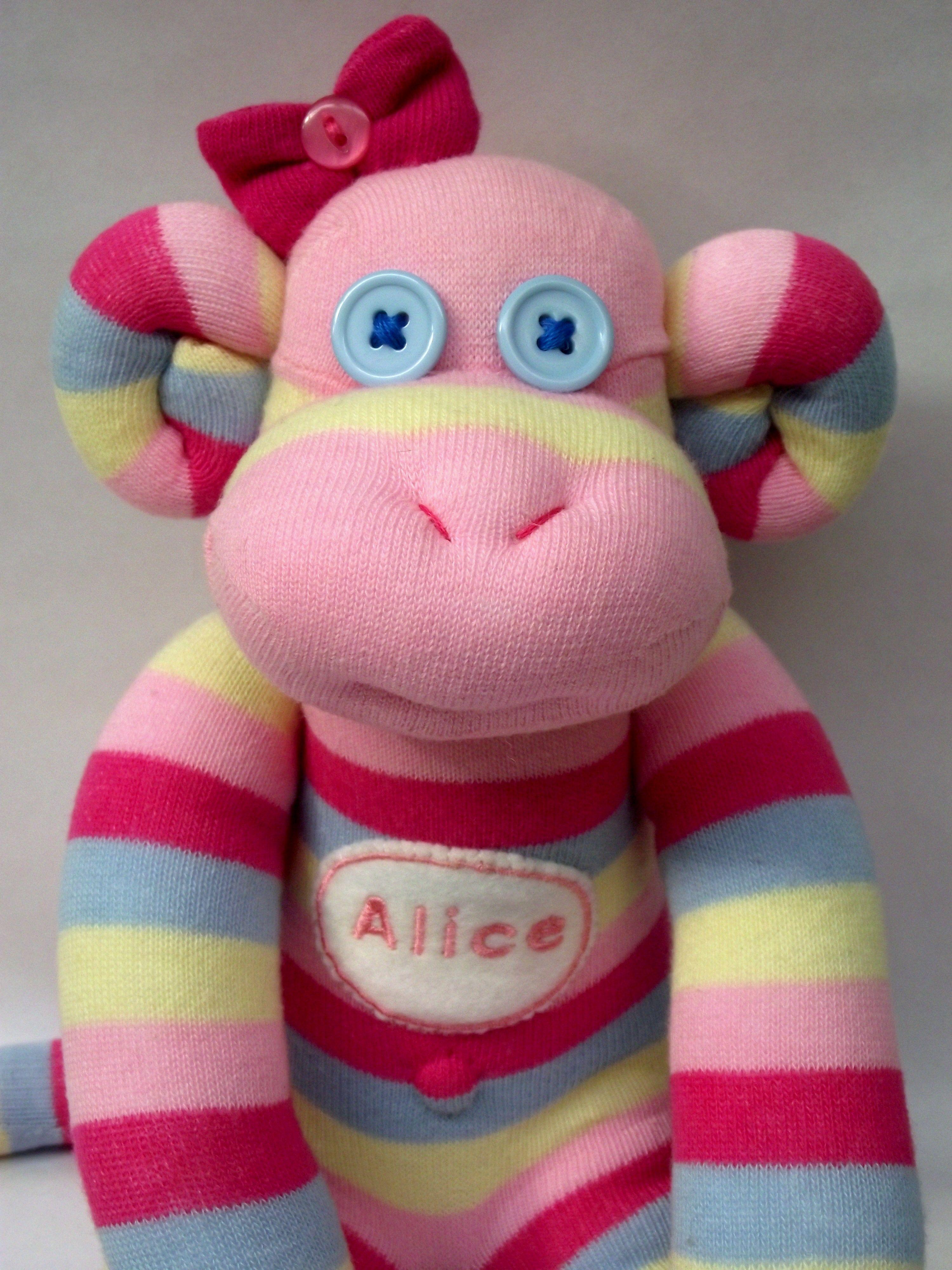It's Alice, the sock monkey.
