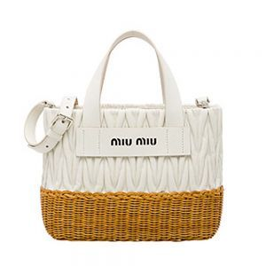 Miu Miu Women Nappa Leather and Wicker Bag-White  2c506ac6ff3f3