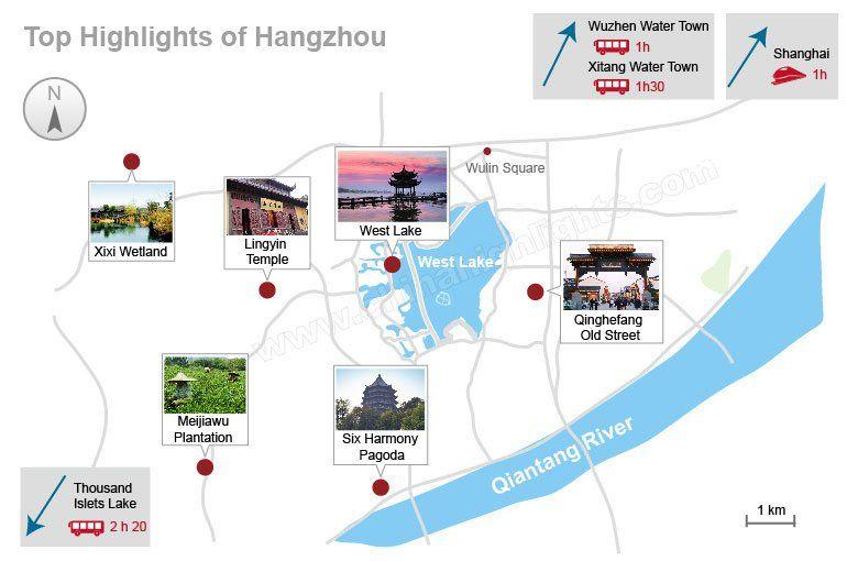 Hangzhou Subway Map.Hangzhou Attractions Map And Distance Hangzhou In 2019 Hangzhou