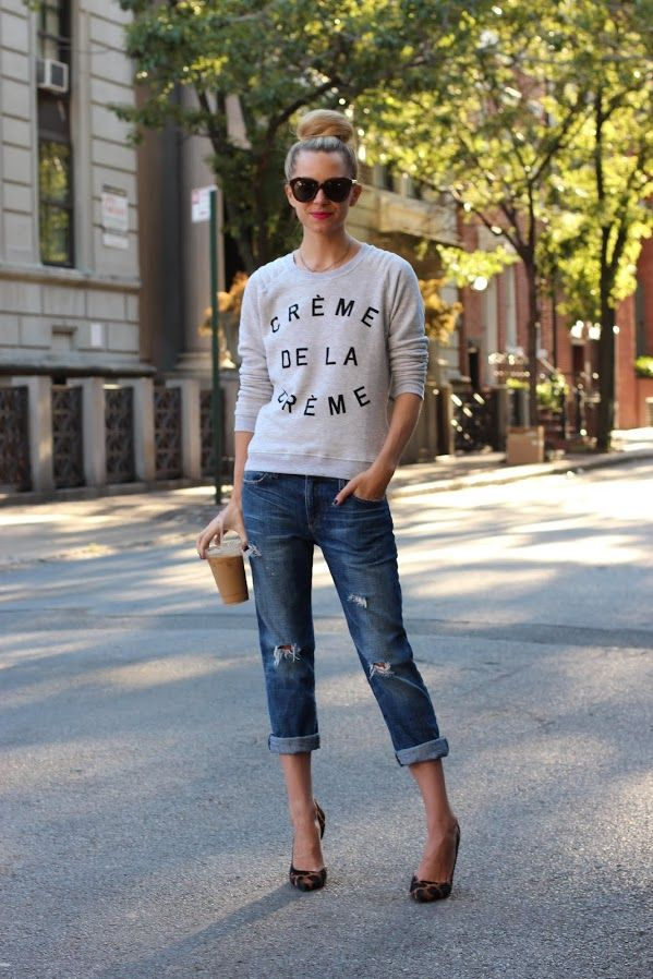 Blair Eadie in a ZOE KARSSEN sweatshirt, CURRENT/ELLIOTT jeans, GUISEPPE ZANOTTI shoes, and KAREN WALKER sunnies.