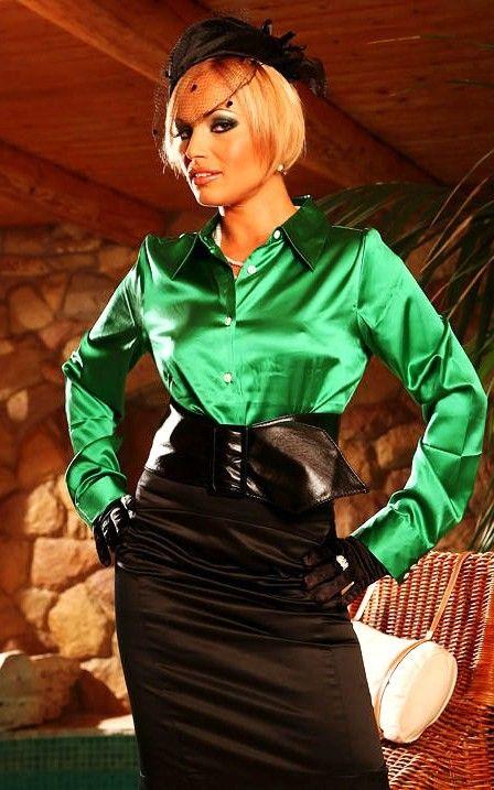 c2f0d7504dcd0 Green Silk Satin Blouses