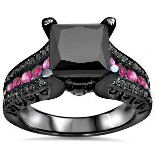 14k Black Rhodium Gold 3ct Black Diamond Pink Sapphire Engagement