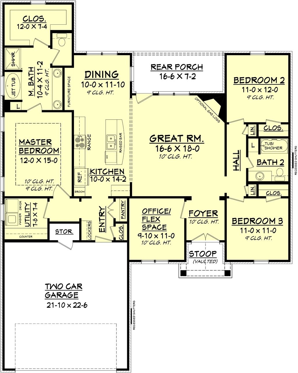 ranch style house plan 1778 sq ft plan 430 88 only needs mbr door