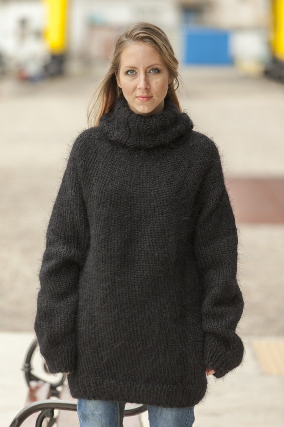 dc6d2cf01010 Mohair Sweater,Turtleneck Mohair Sweater,Hand Knit Pull,Fluffy T neck  Pullover,Angora Wool Fetish,Ov