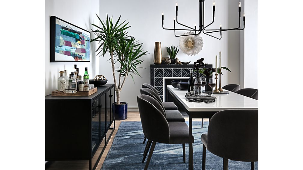Casement Black Solid Surface Dining Table In 2020 With Images Dining Table Black Furniture Dining Table Large Sideboard