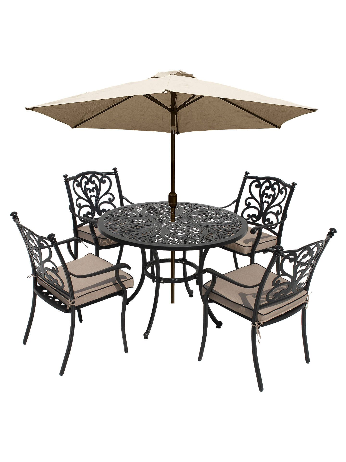 Lg Outdoor Devon 4 Seater Garden Dining Table And Chairs Set With Parasol Bronze In 2020 Dining Table Chairs Table And Chair Sets Table And Chairs