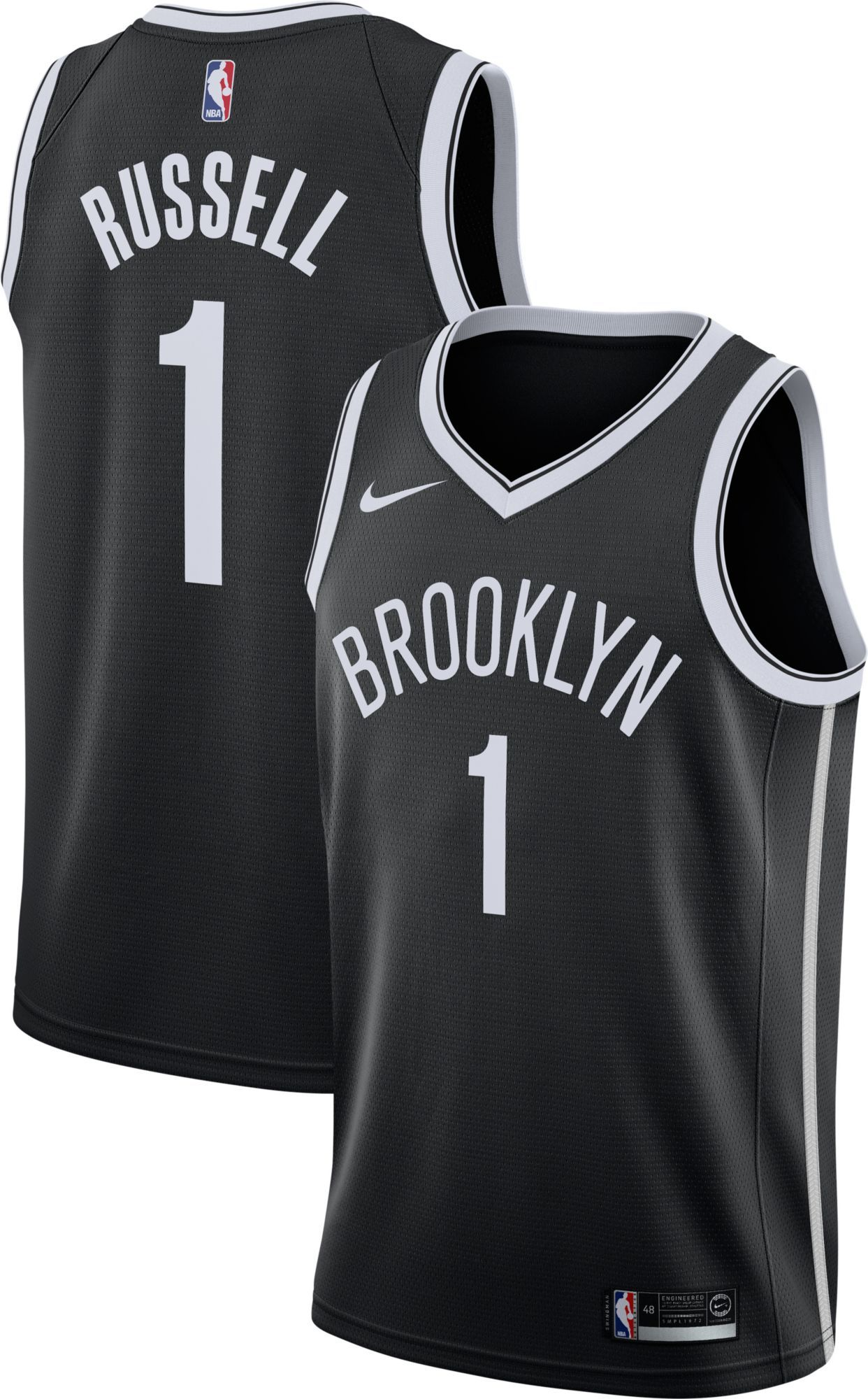94950caf198 Nike Men s Brooklyn Nets D Angelo Russell  1 Black Dri-FIT Swingman Jersey