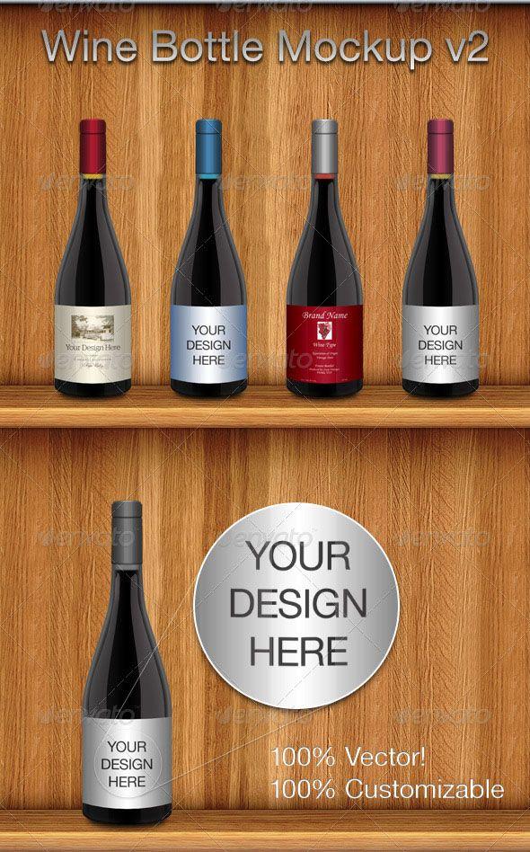 Download Wine Bottle Mockup Template Design Wine Bottle Mockup V2 Item Detailscomments Wine Bottle Mockup V2 Food And Dri Bottle Mockup Wine Bottle Wine Bottle Design