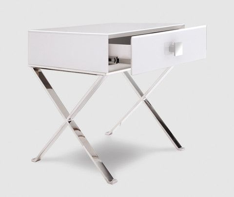 richmond white glass chrome bedside table chrome and bedrooms