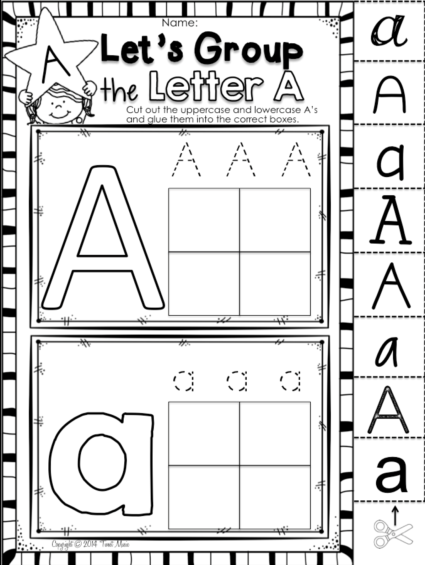 learn about the letter a with this uppercase and lowercase sort freebie. Black Bedroom Furniture Sets. Home Design Ideas