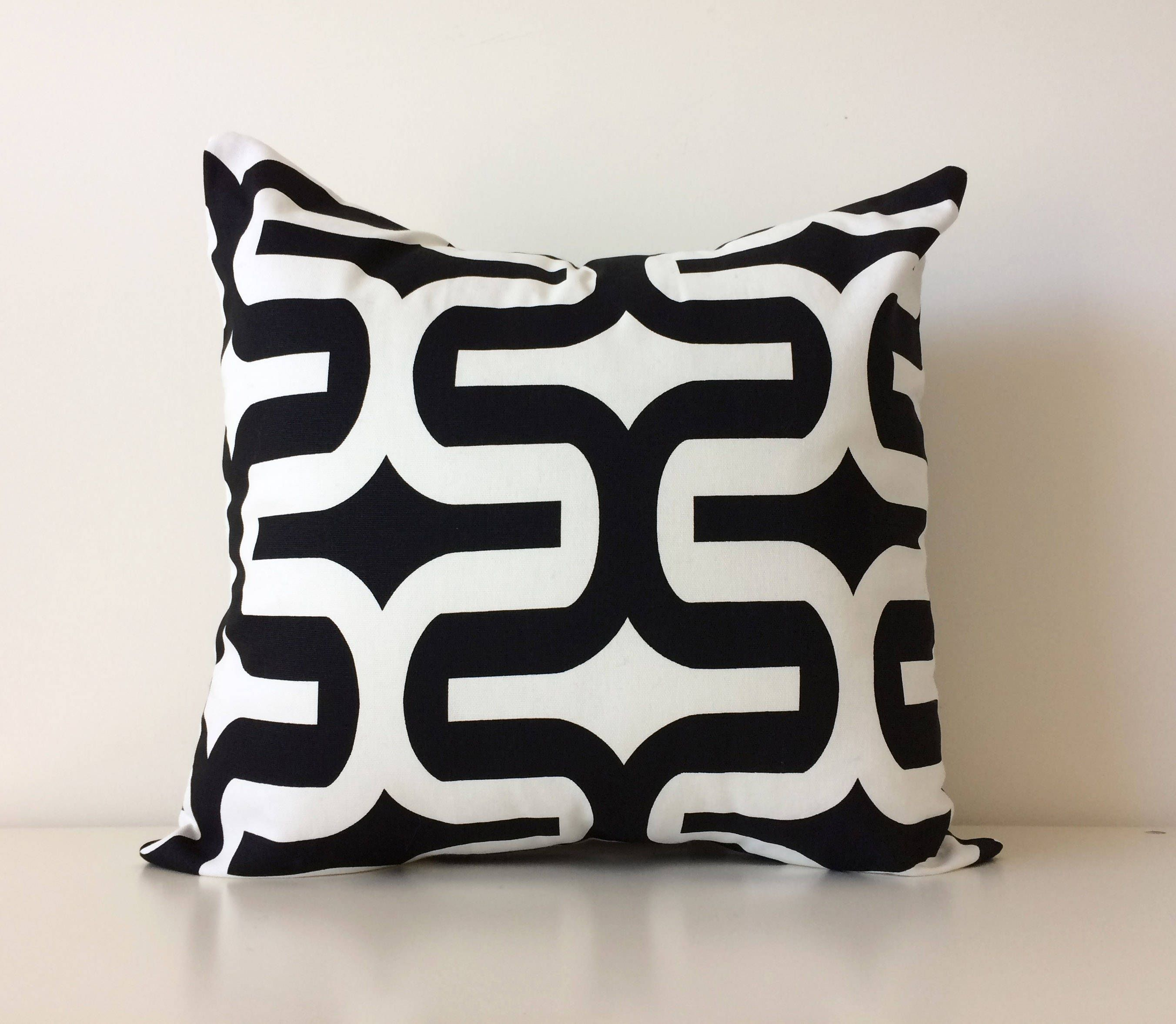 Geometric black and white pillow cover 20x20 mod contemporary accent pillow premier prints embrace black cushion cover by blackcatmeowdesigns on