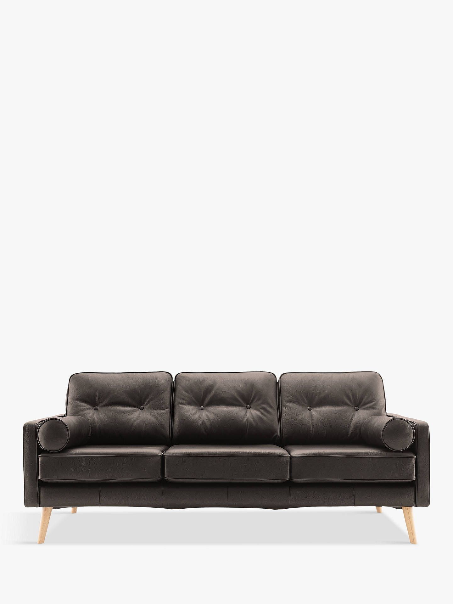 G Plan Vintage The Sixty Five Large 3 Seater Leather Sofa Capri Black 3 Seater Leather Sofa Leather Sofa Sofa