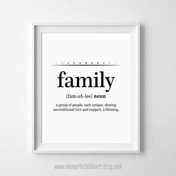 Family Definition Art, Family Wall Art, Family Definition ...