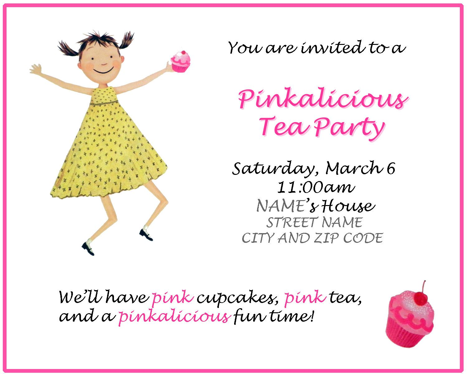 Pinkalicious Party Invitations invitation for birthday party – Pinkalicious Party Invitations