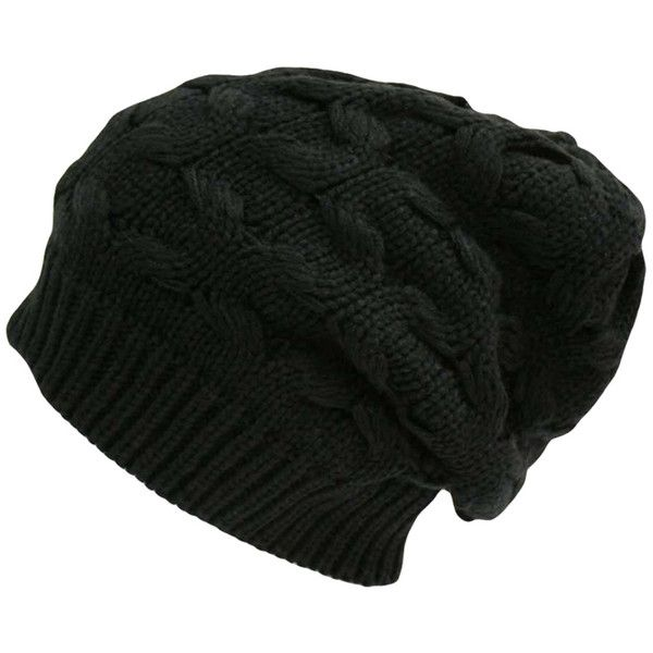 Black Oversize Slouchy Cable Knit Beanie Cap Hat ($14) ❤ liked on Polyvore featuring accessories, hats, black, beanie hats, oversized slouchy beanie, beanie cap, black slouch beanie and caps hats
