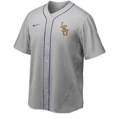 on sale fa10e 8b1f2 LSU Tigers Grey Nike Replica Baseball Jersey | Sports | Lsu ...
