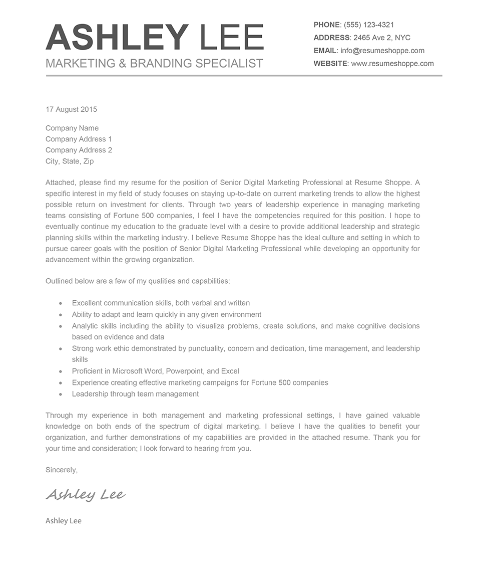 The Ashley Cover Letter Creative cover letter, Cover
