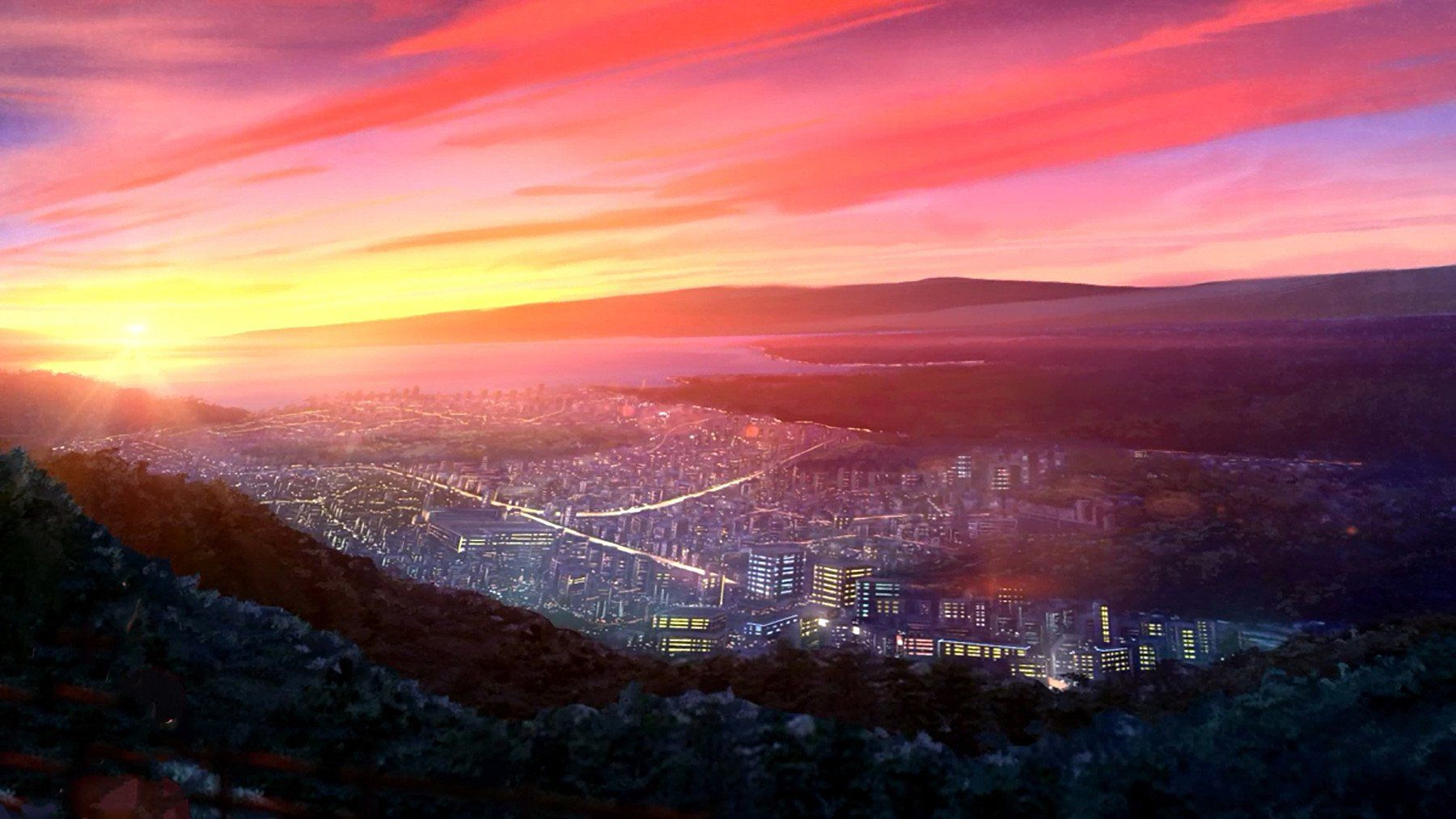 Anime Original Hill Mountain Sunset City Light Building