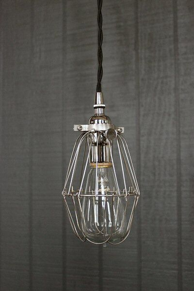 IndustrialPendantSilverSocketLightCageLightingbylightlady - Silver kitchen light fixtures