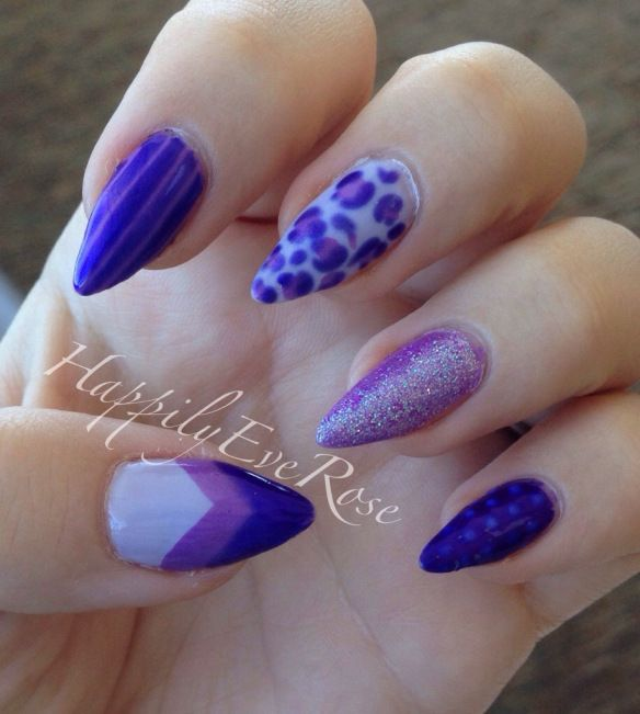 Really cute nail art design on stiletto nail shape using different shades  of purple and glitter - Really Cute Nail Art Design On Stiletto Nail Shape Using Different