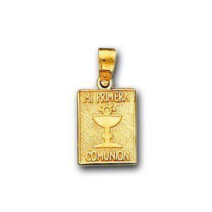 14K Solid Yellow Gold Primera Comunion Charm Pendant IceNGold. $189.95
