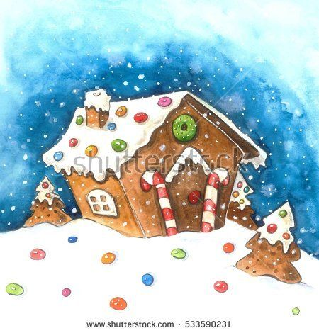 Christmas Gingerbread House Background.Gingerbread House Illustration Akvarel Christmas