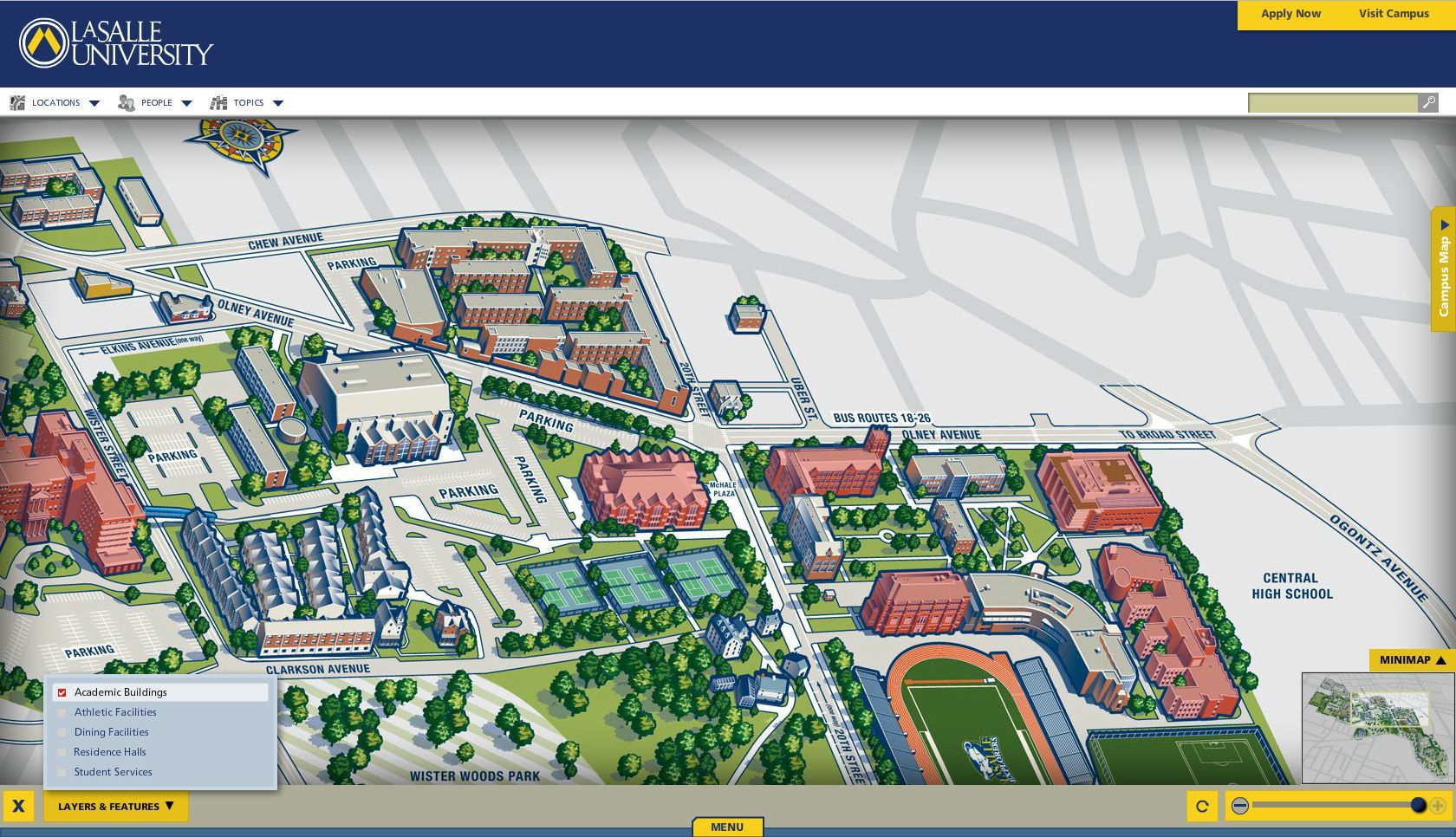 La Salle University Campus Map with Academic Buildings Layer La