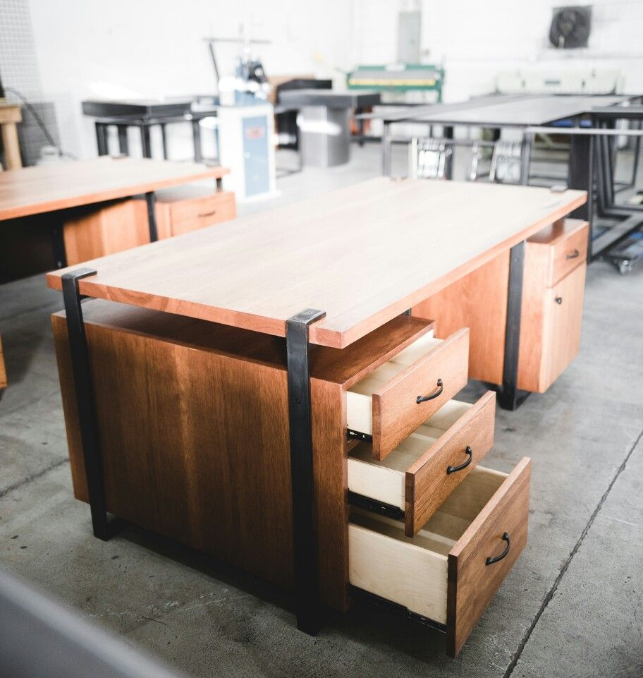 Work Desks Built By Real Edge Furniture Stained Hickory Blackened Steel Strap Frame