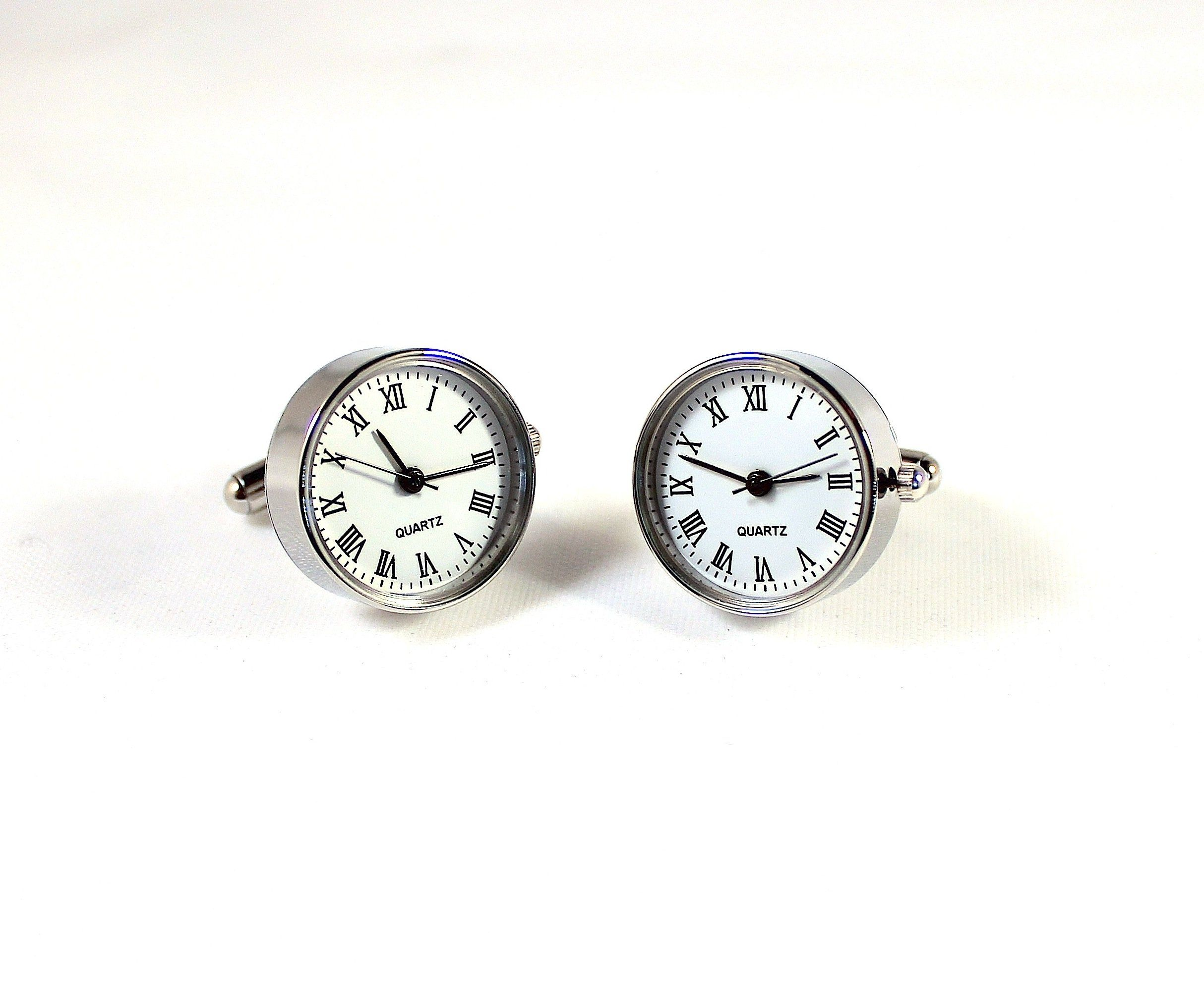 """Functional Watch Cufflinks Quartz Clock Gift Wedding Time Piece. Dimensions: 13/16"""" by 13/16"""". Color: White. Weight: 20g. Material: Rhodium."""