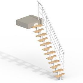 Best Dolle Lugano 9 Ft White Modular Staircase Kit 68420 400 x 300