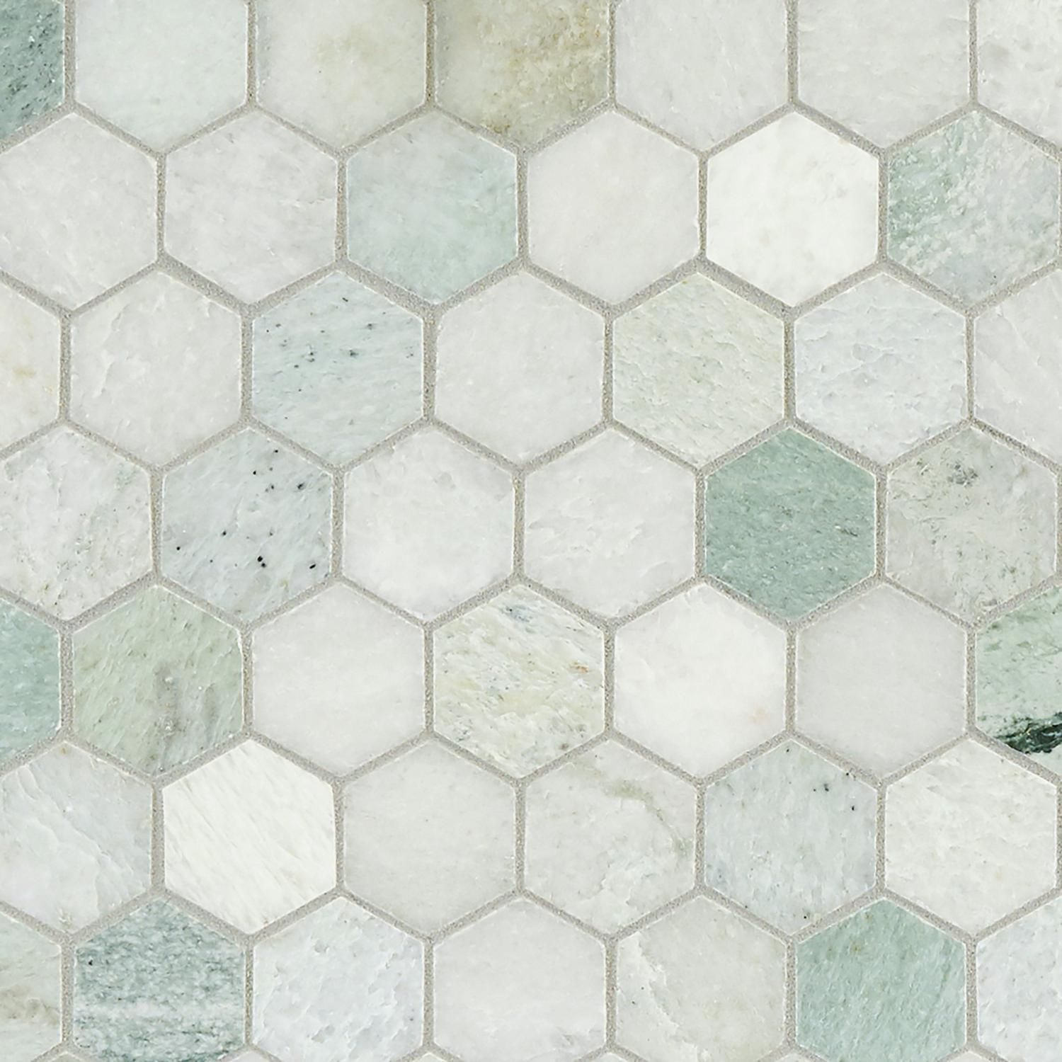 Caribbean green hexagon polished marble mosaic marble mosaic caribbean green hexagon polished marble mosaic 12 x 12 100052604 dailygadgetfo Choice Image