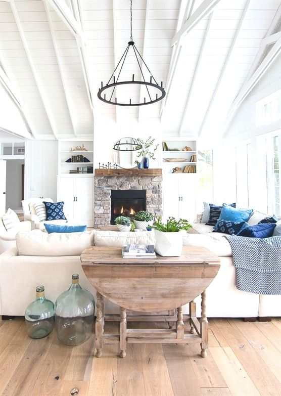 Lake house living room blue and white decor cozylivingroomsdecorideas also rh pinterest