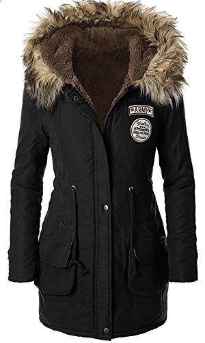 2feb76e1a 4HOW Womens Faux Fur Lined Parka Coats Outdoor Winter Hooded Long ...