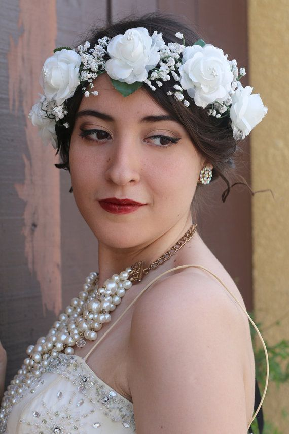 Ivory Flower Crown Headband Bride Bridesmaids Boho Wedding