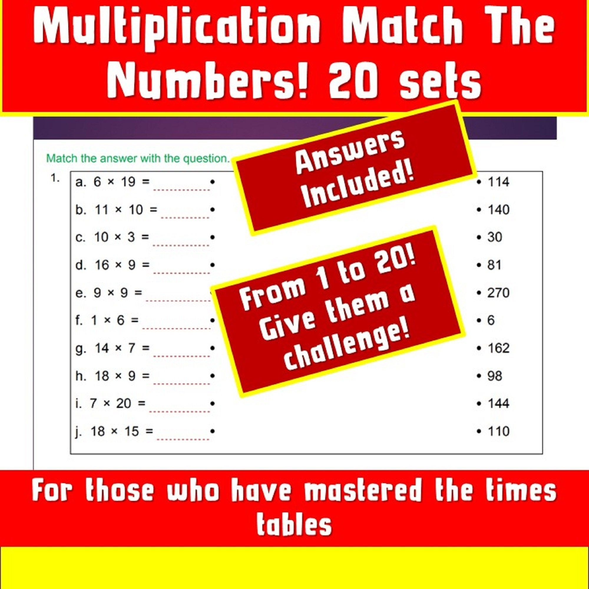 Maths Worksheet Game Printable Multiplication Match Up