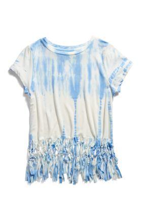 f7c35b68d39b Jessica Simpson Girls' Fringe Tee Girls 7-16 - Bonnie Blue Tie Dye - L